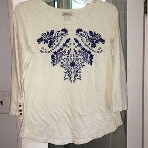 NWOT Lucky Brand cream embroidered top sz large